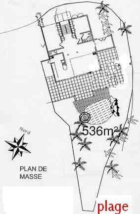 Plan de masse de la villa dans la résidence Hamak en Guadeloupe
