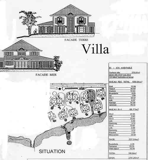 """Plan de masse générale de la Résidence """"Les Jardins du Hamak"""" villas de luxe en Guadeloupe"""